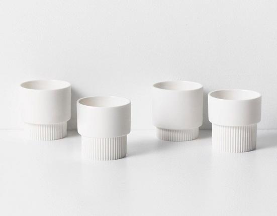 ferm LIVING Espresso hrnečky Groove White - set 4 ks, bílá barva, porcelán
