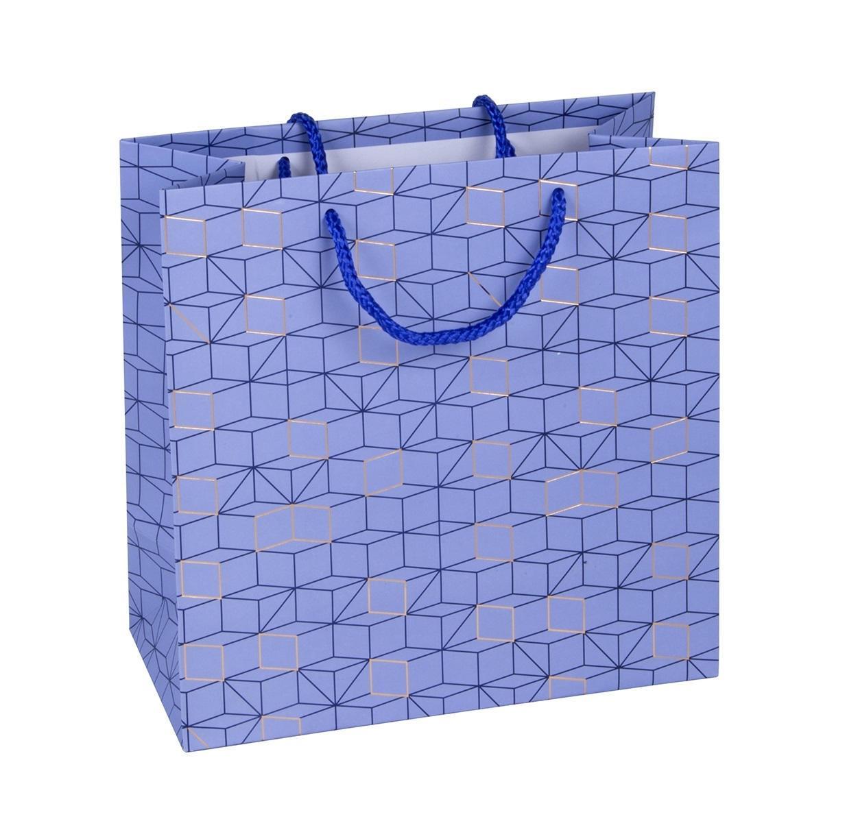 TRI-COASTAL DESIGN Papírová dárková taška Cubes Blue S, modrá barva, papír