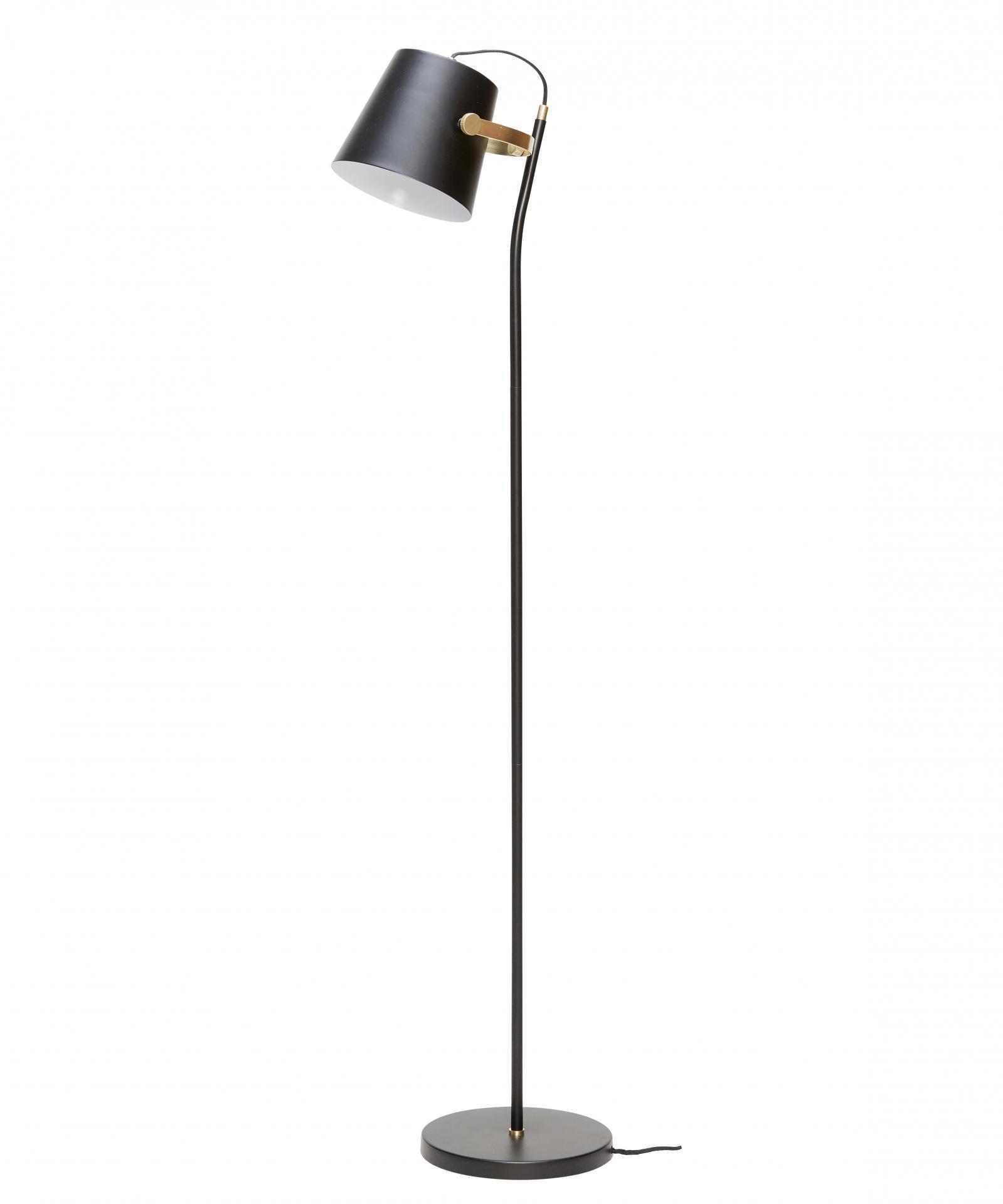Hübsch Stojací lampa Black/brass, černá barva, zlatá barva, kov
