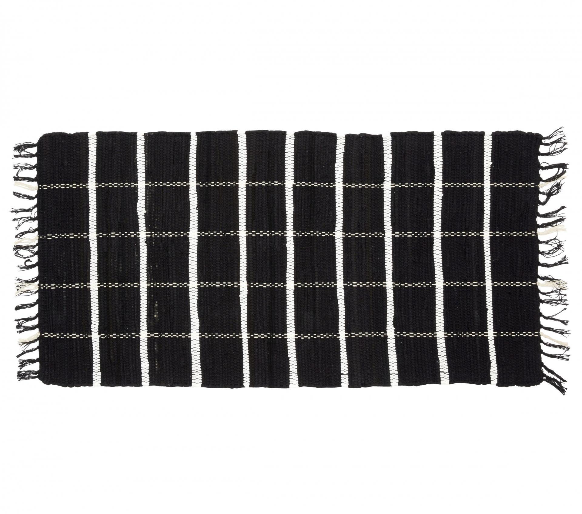 Hübsch Tkaný kobereček Black/white 60x120 cm, černá barva, textil Černá