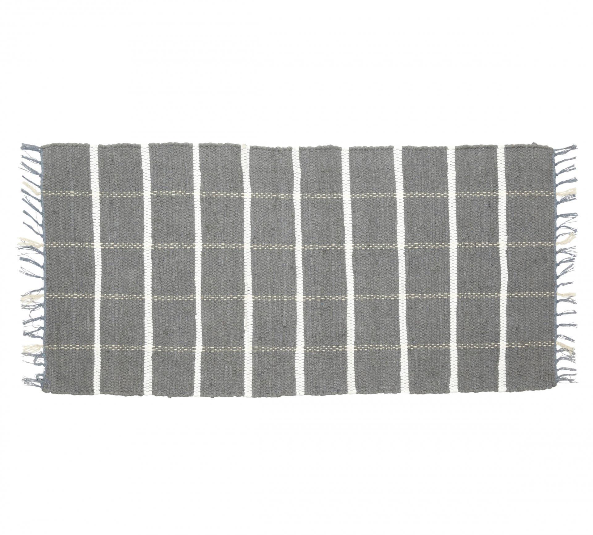 Hübsch Tkaný kobereček Grey/white 60x120 cm, šedá barva, textil