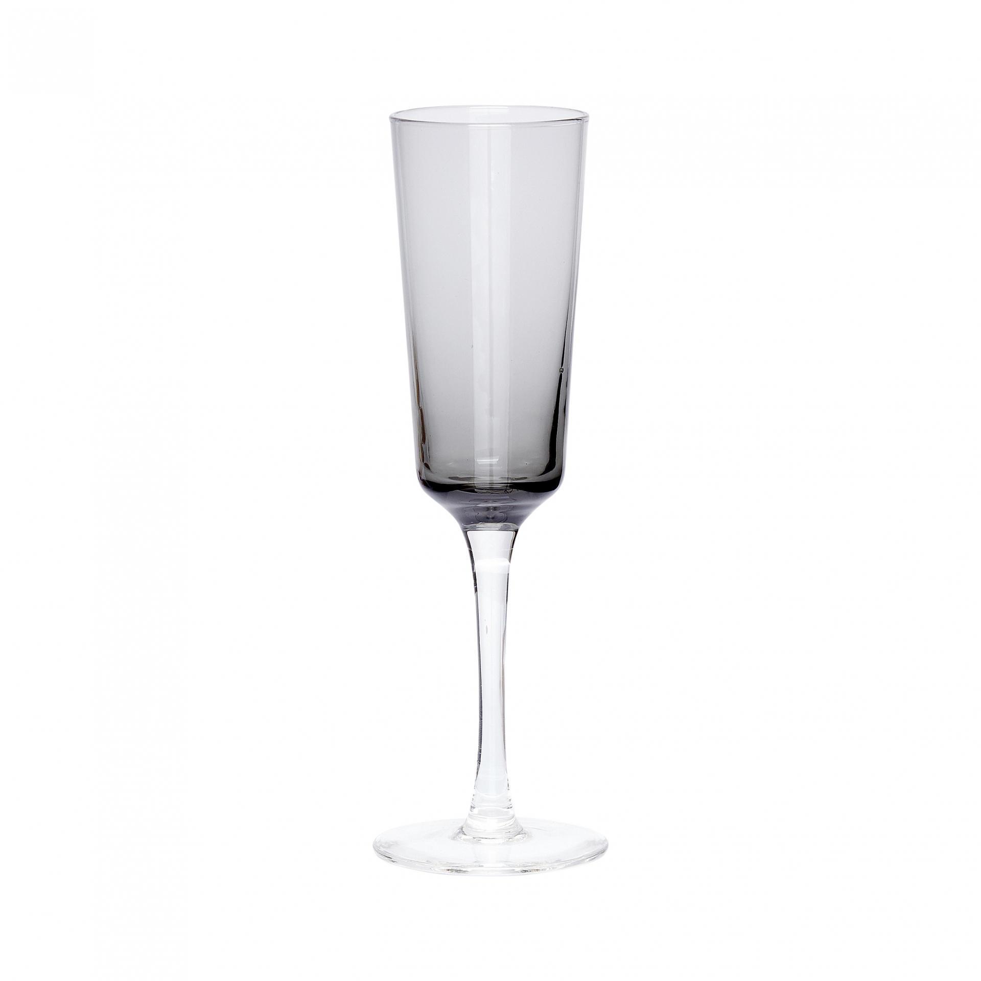 Hübsch Sklenička na šampaňské Grey, šedá barva, sklo