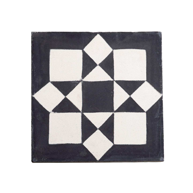 tineKhome Cementová kachle Marocco star, černá barva, bílá barva, beton