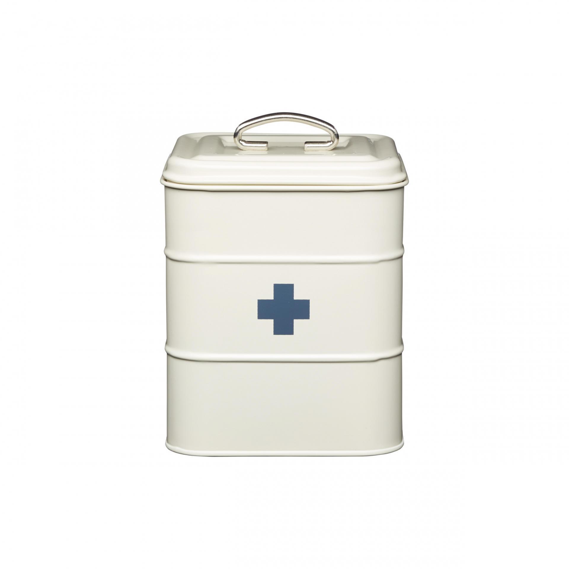 Kitchen Craft Plechová dóza na léky First aid Cream, krémová barva, kov