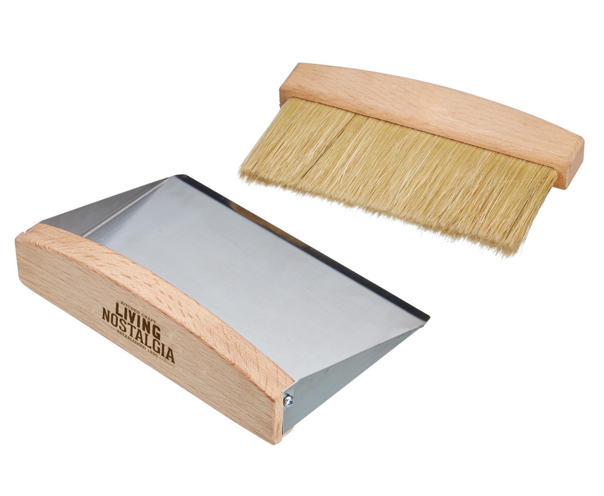 Kitchen Craft Stolní smetáček s lopatkou, béžová barva, hnědá barva, stříbrná barva, dřevo, kov