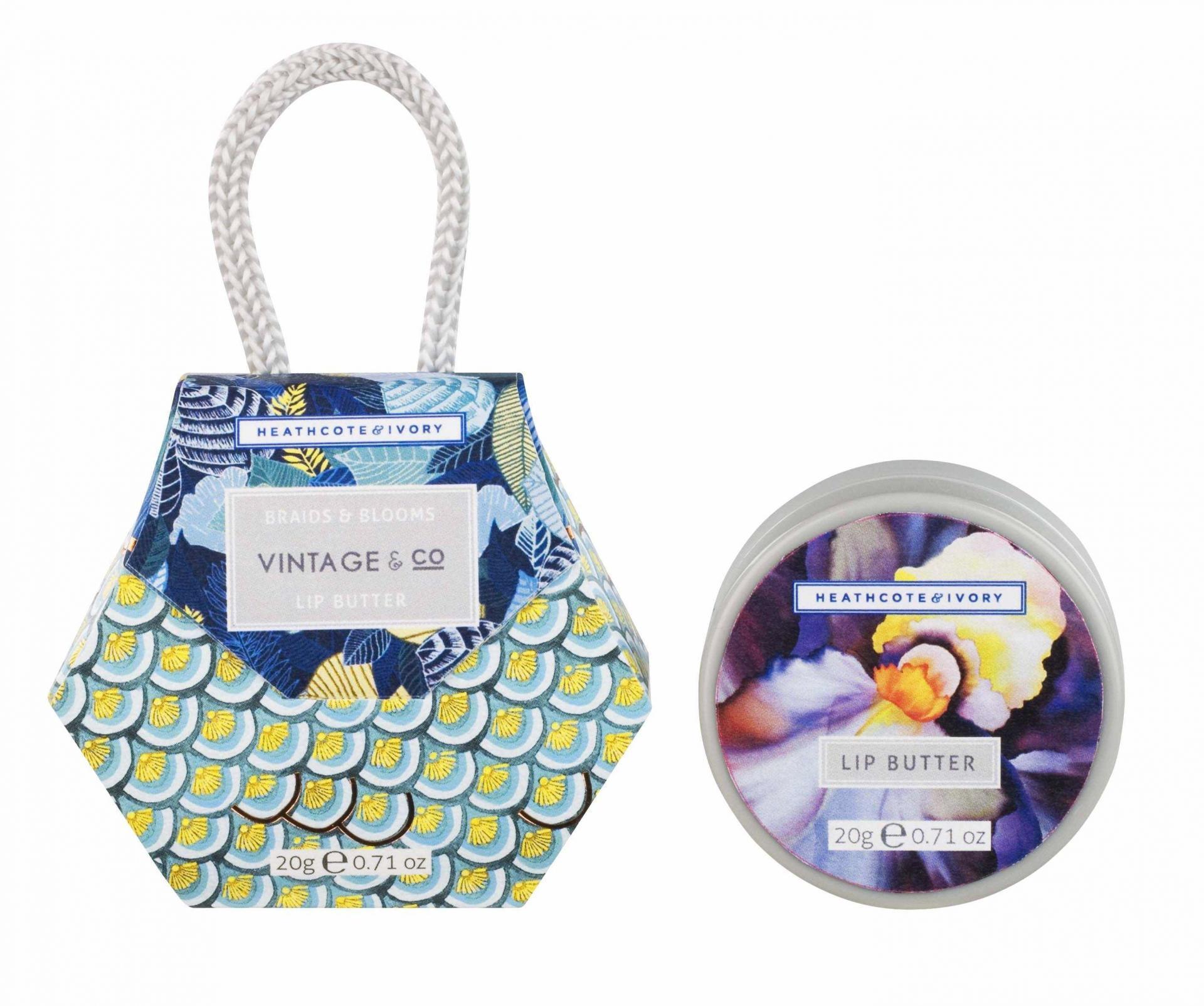 HEATHCOTE & IVORY Balzám na rty Braids & Blooms, modrá barva, šedá barva, plast, papír