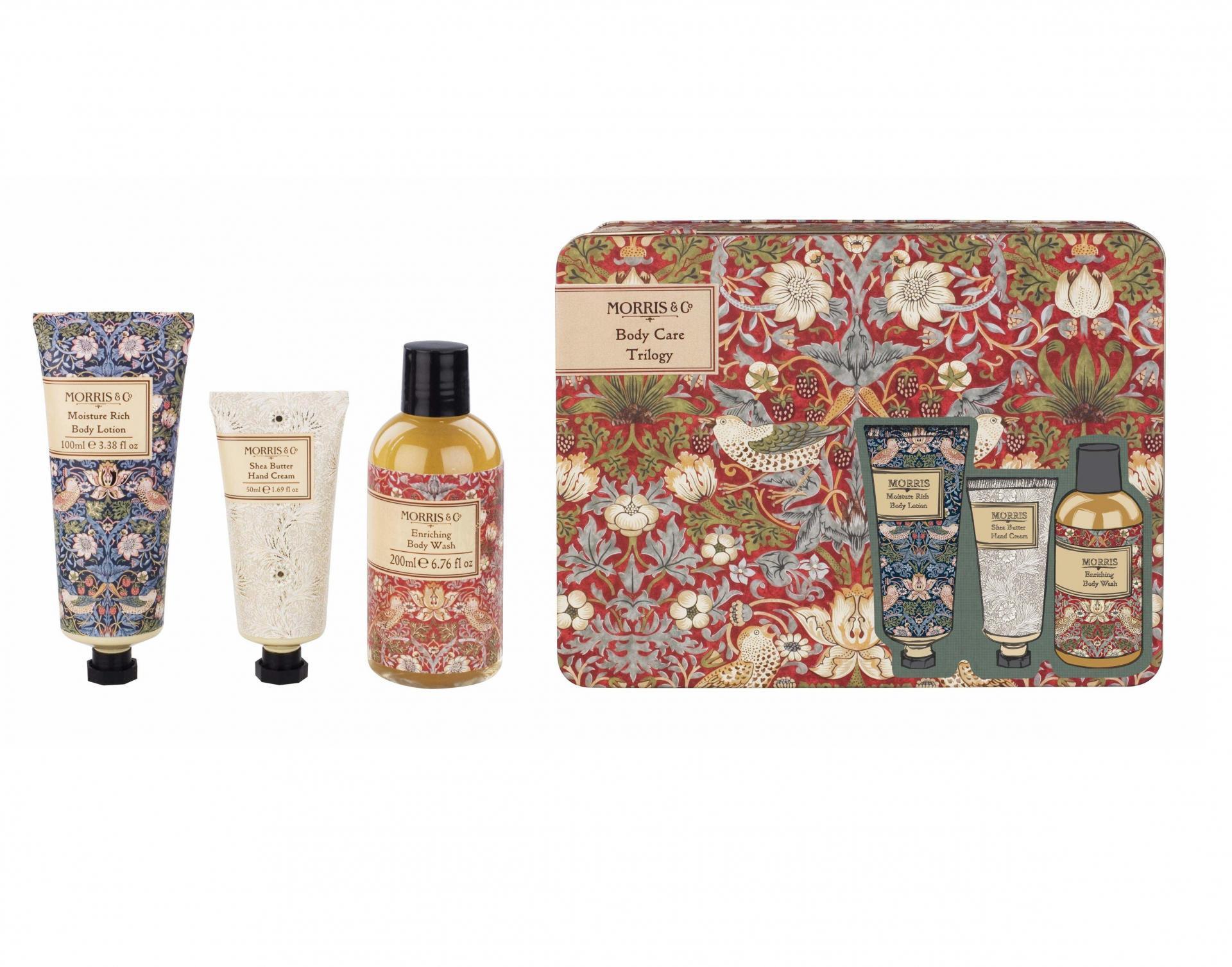 MORRIS & Co. Sada tělové kosmetiky v plechovém boxu Strawberry Thief, červená barva, zelená barva, kov, plast