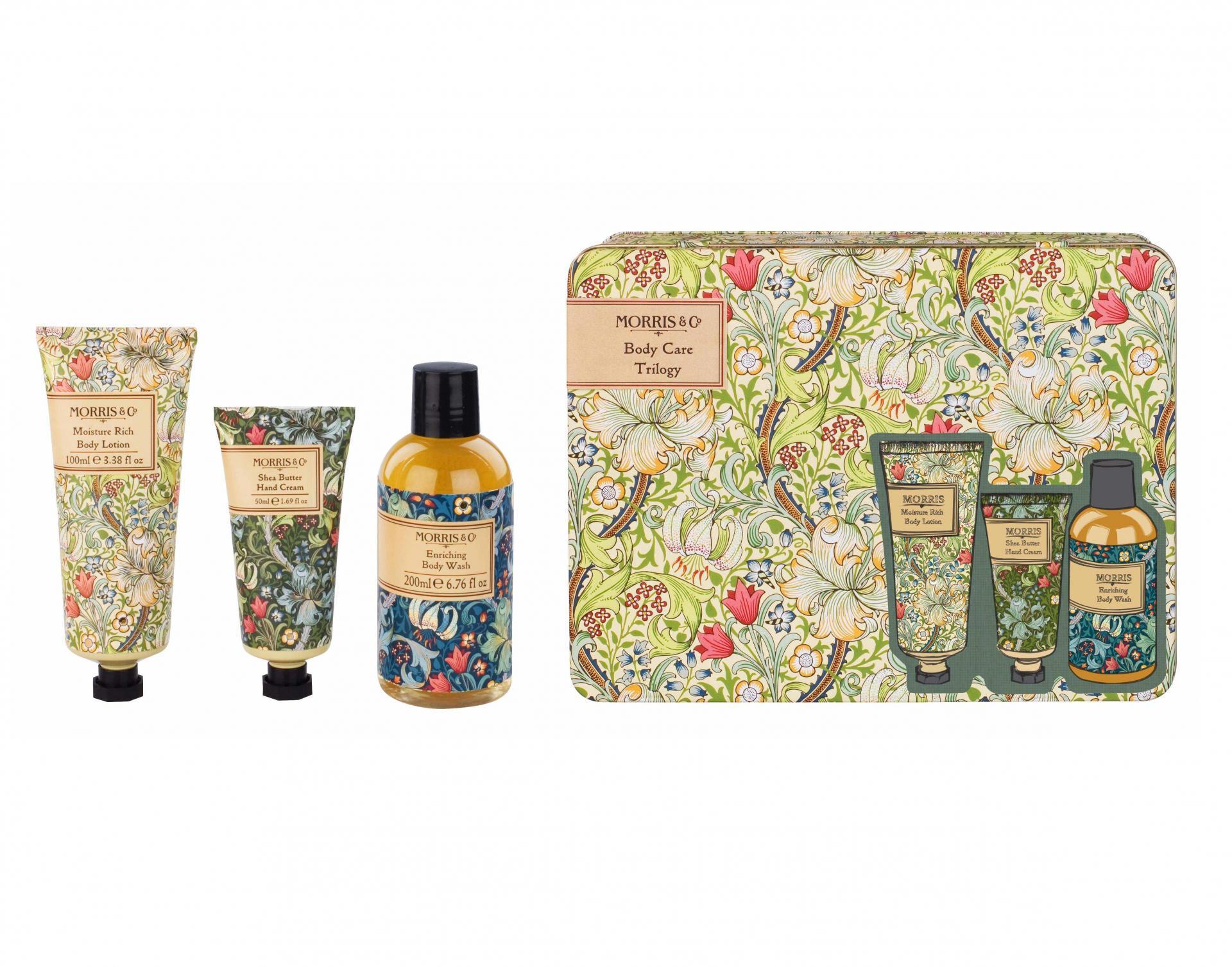 MORRIS & Co. Sada tělové kosmetiky v plechovém boxu Golden Lily, zelená barva, žlutá barva, kov, plast