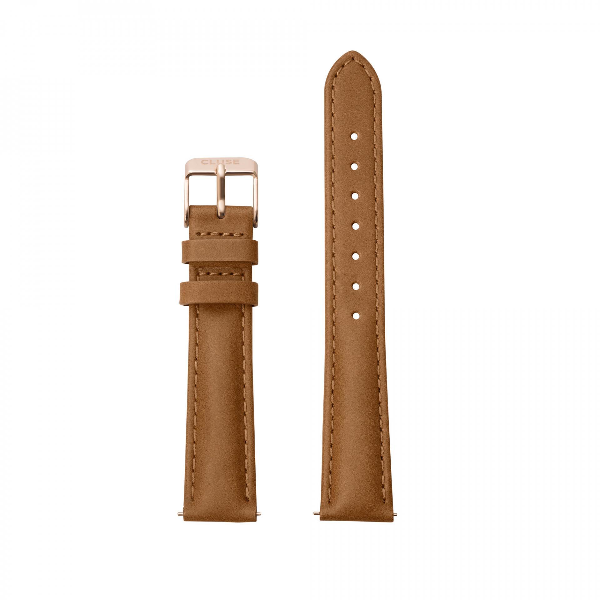 CLUSE Kožený pásek Minuit Caramel/Rose Gold, hnědá barva, kůže