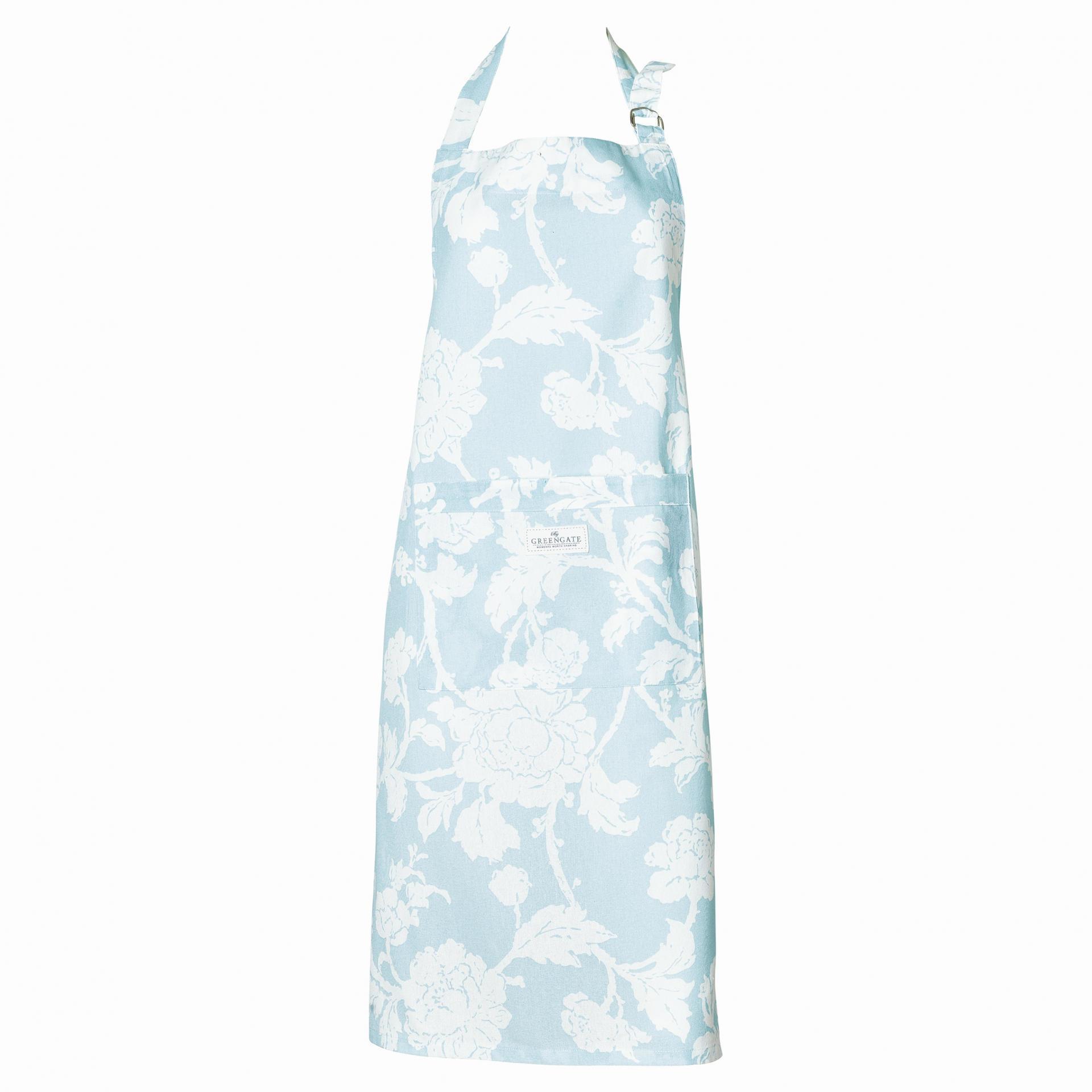 GREEN GATE Kuchyňská zástěra Ingrid pale blue, modrá barva, textil