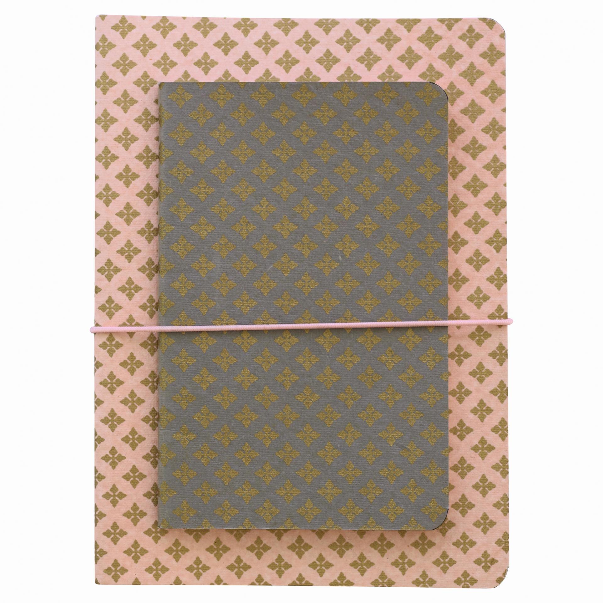 GREEN GATE Papírový sešit Sasha - 2 ks, růžová barva, oranžová barva, šedá barva, zlatá barva, papír