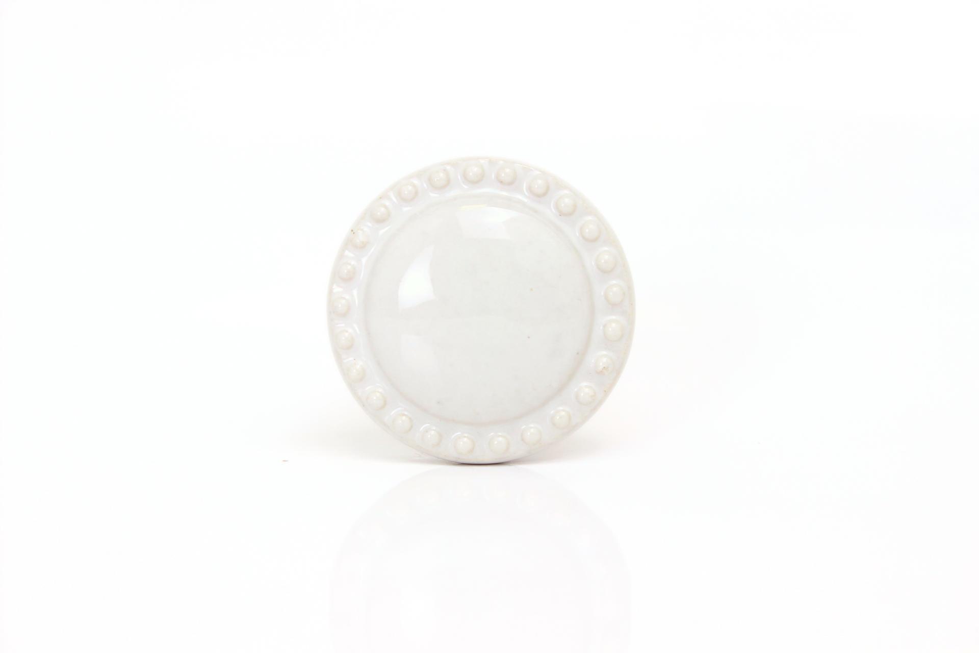 La finesse Porcelánová úchytka kulatá bílá, bílá barva, porcelán 40 mm