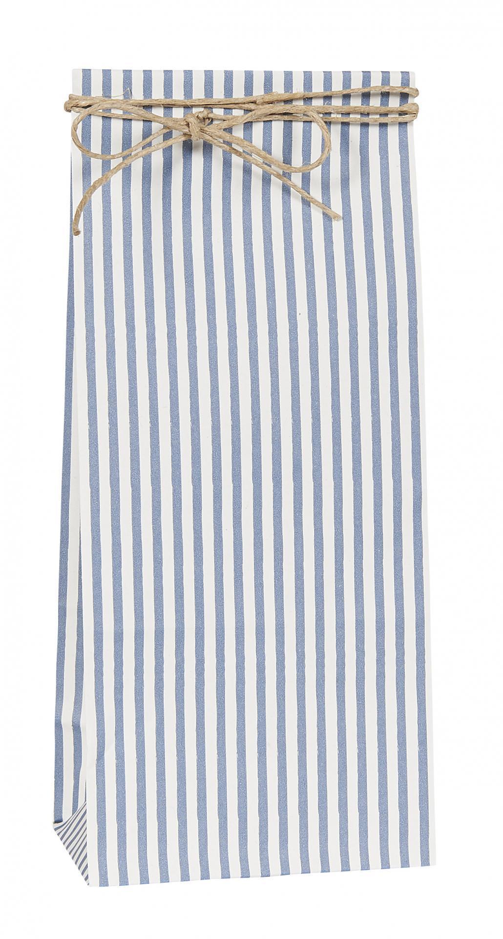 IB LAURSEN Papírový sáček Blue stripe S, modrá barva, bílá barva, papír