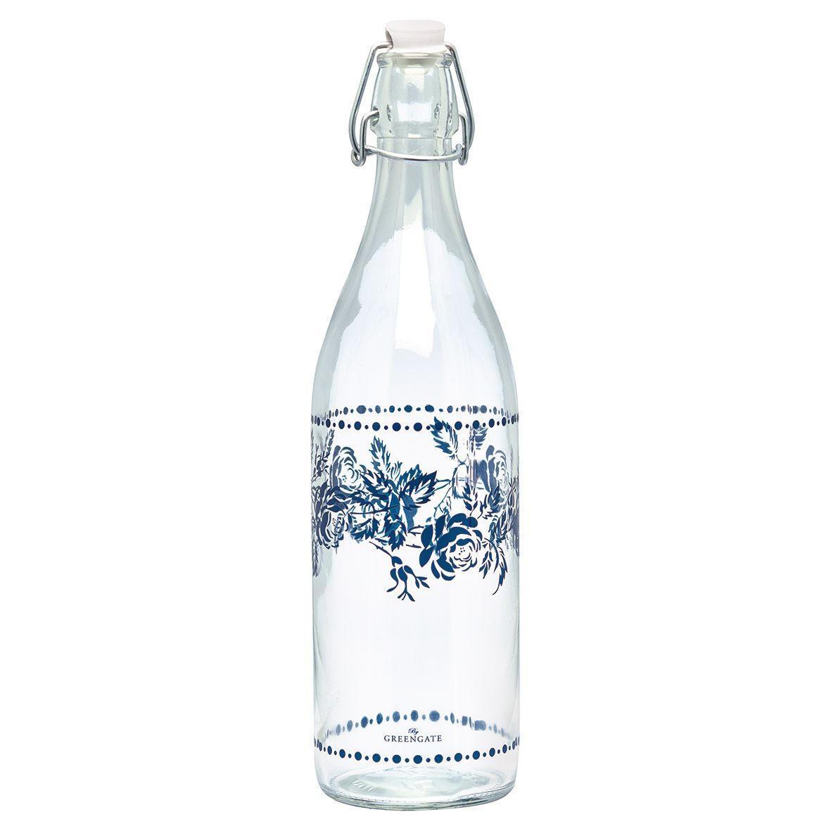 GREEN GATE Skleněná láhev Fleur blue, modrá barva, bílá barva, sklo