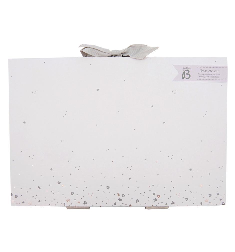 Busy B Svatební plánovací složka na dokumenty Bride to B, šedá barva, bílá barva, stříbrná barva, papír