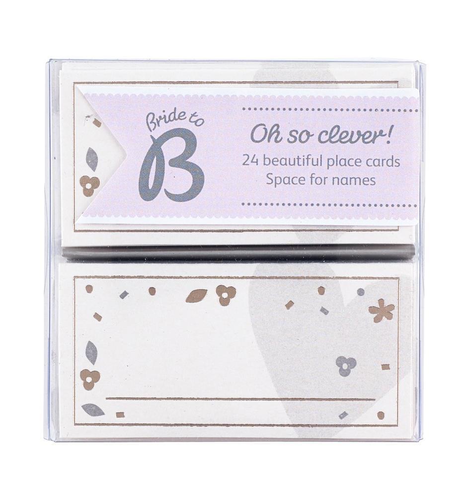 Busy B Svatební jmenovky na stůl Bride to B - 24 ks, šedá barva, bílá barva, stříbrná barva, papír