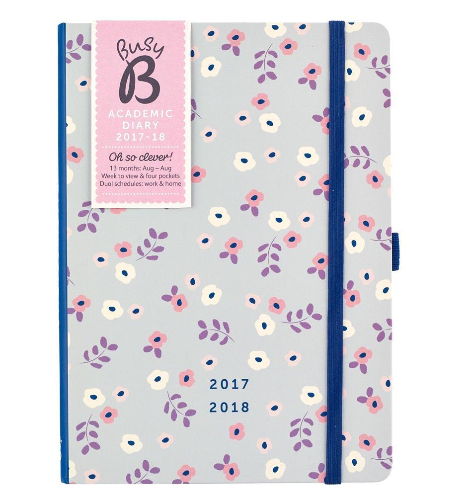 Busy B Školní diář Floral 2017/2018, růžová barva, šedá barva, papír