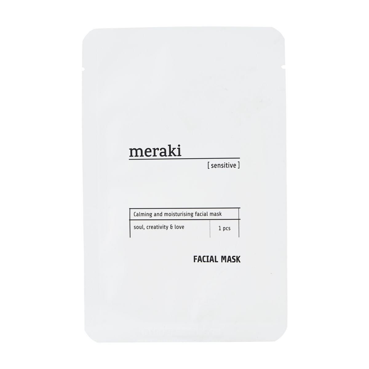 meraki Textilní pleťová maska pro citlivou pleť, bílá barva, textil