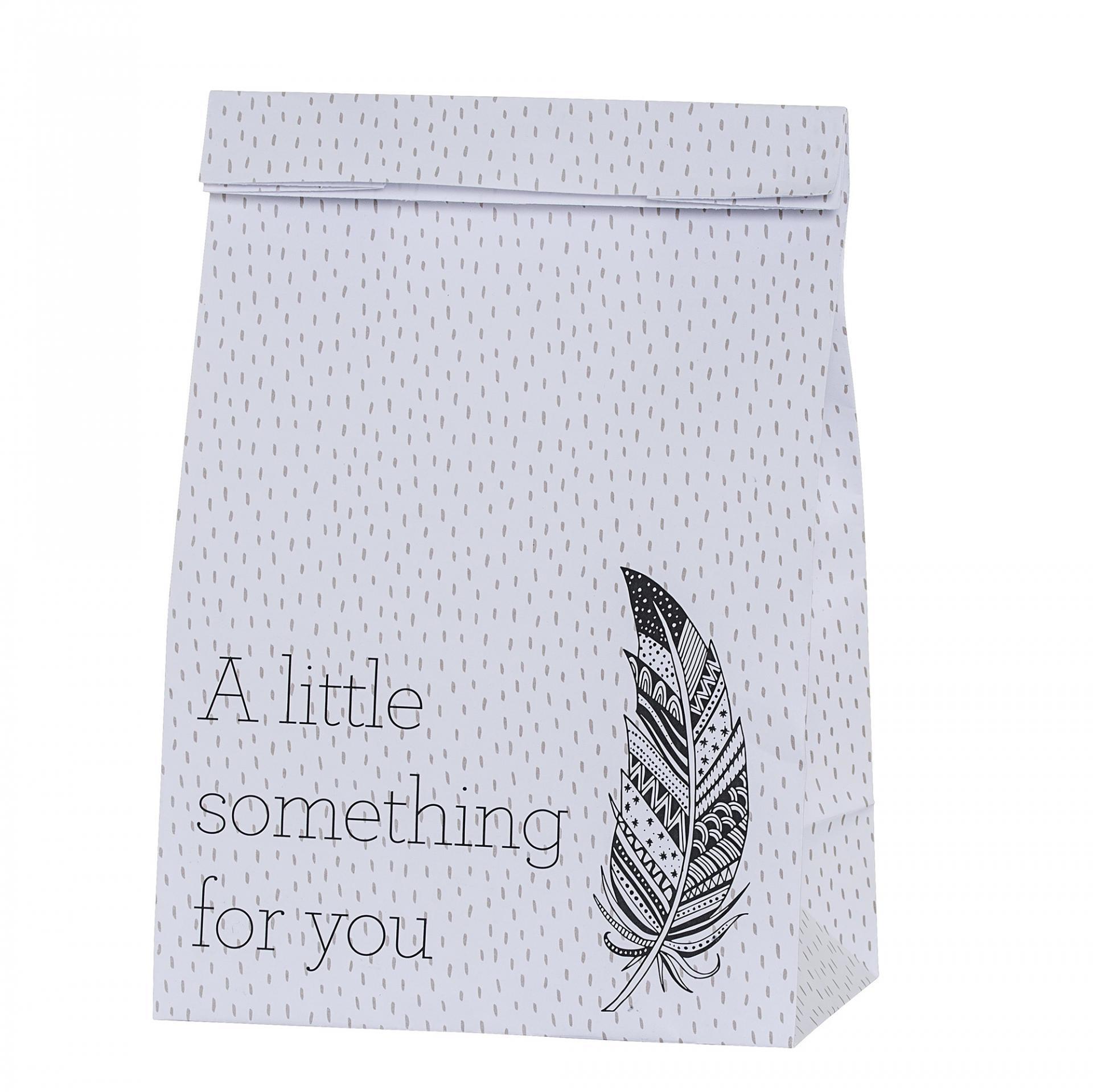 Bloomingville Velikonoční papírový sáček Feather, černá barva, bílá barva, papír