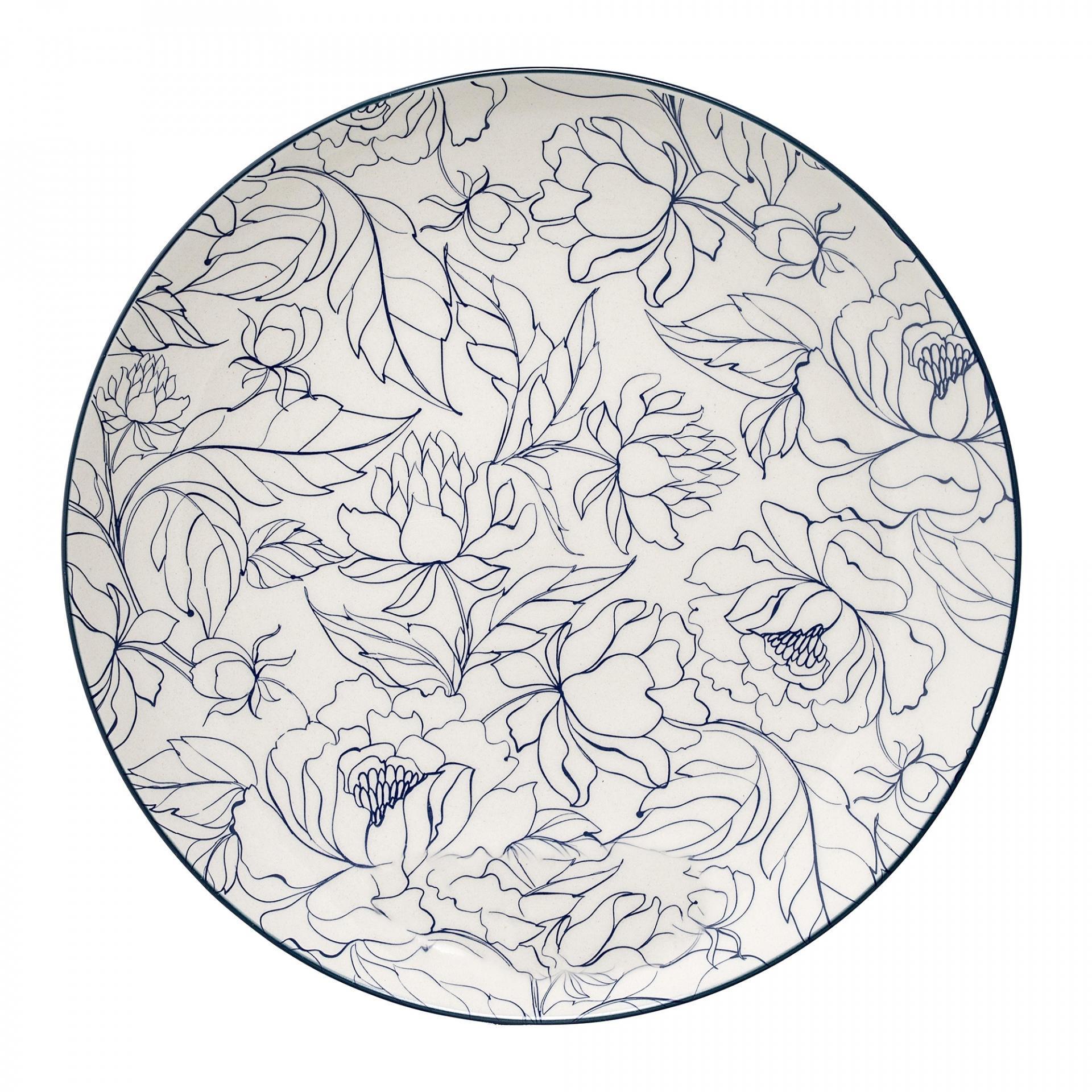 Bloomingville Keramický talíř Fleur Creme