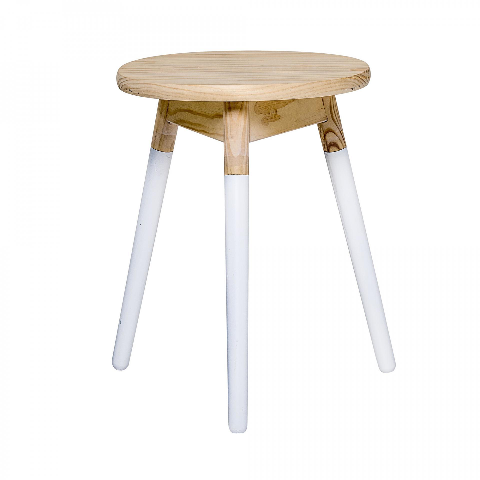 Bloomingville Dřevěný odkládací stolek Bud, béžová barva, bílá barva, hnědá barva, dřevo