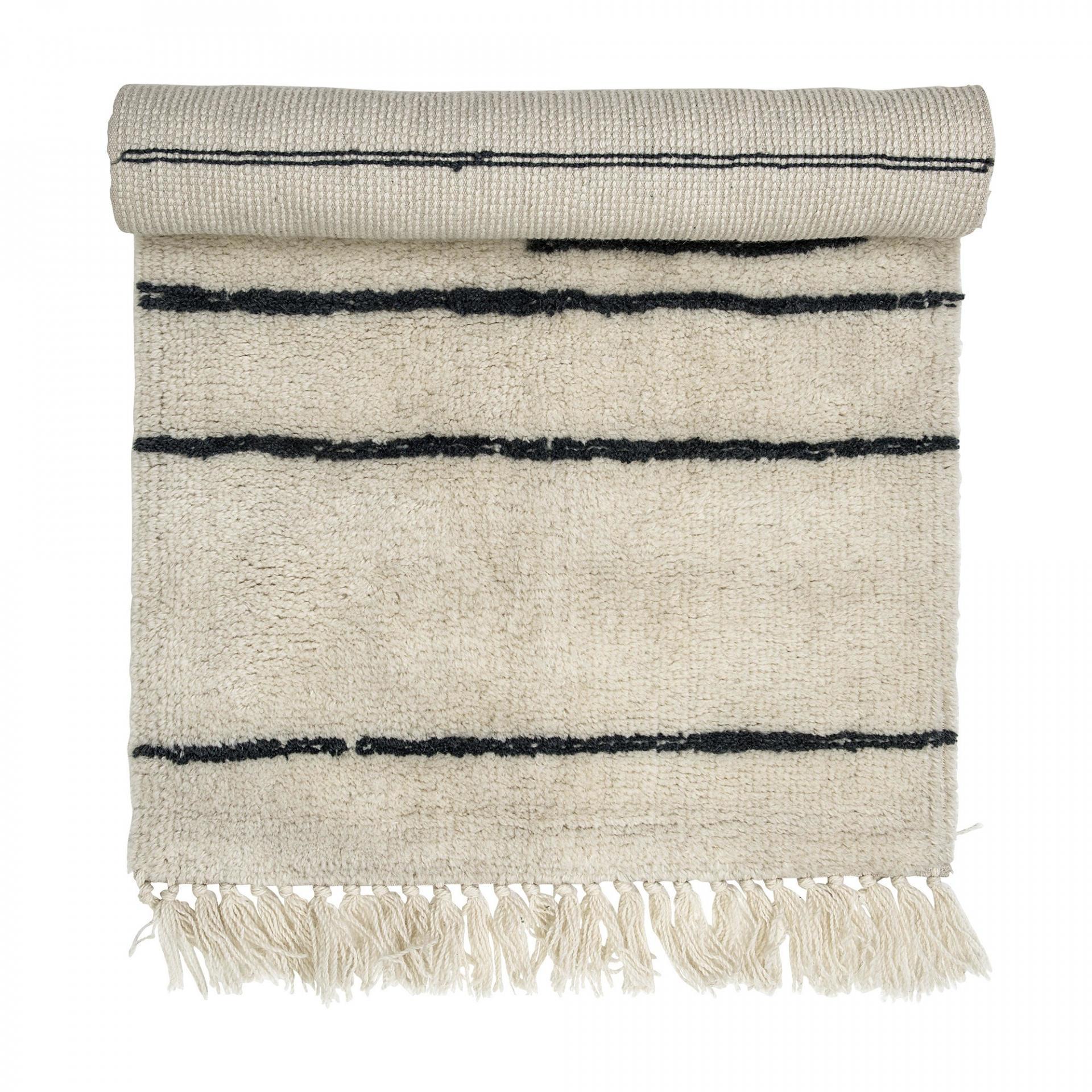 Bloomingville Vlněný koberec Line 60x120 cm, šedá barva, krémová barva, textil