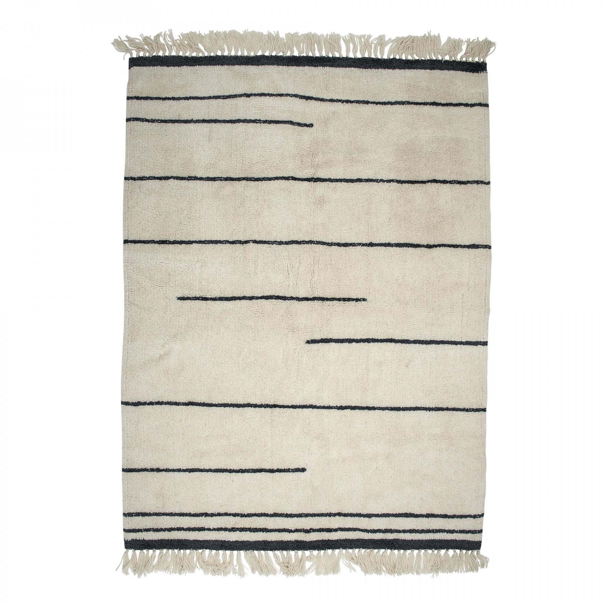 Bloomingville Vlněný koberec Line 140x200 cm, šedá barva, krémová barva, textil