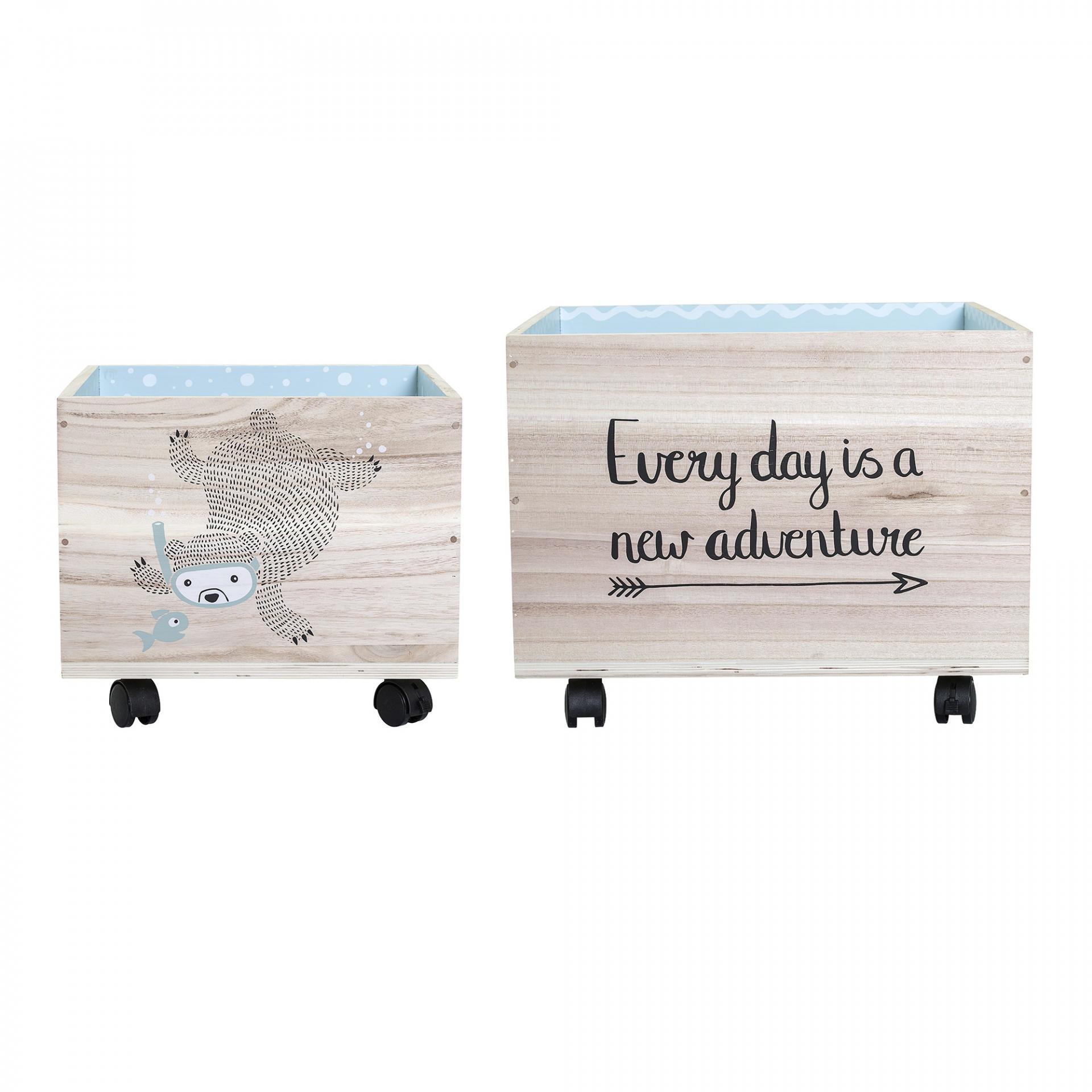 Bloomingville Úložný box na kolečkách Bear/Fox Blue Menší, modrá barva, béžová barva, hnědá barva, dřevo