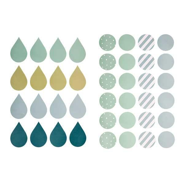 Bloomingville Samolepky na zeď Green - 40 ks, modrá barva, zelená barva, plast, papír