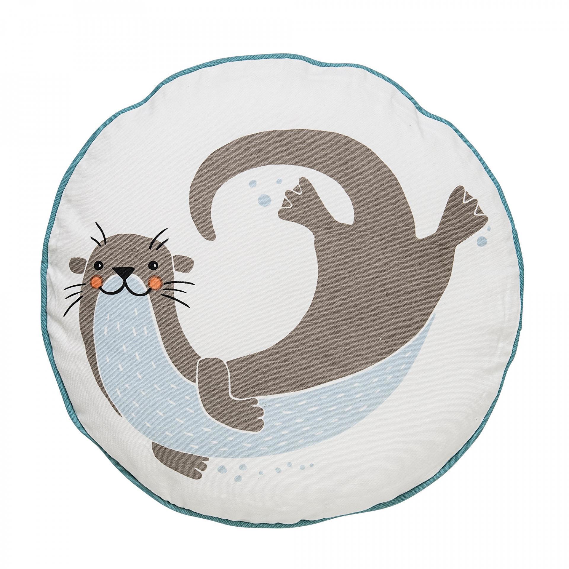 Bloomingville Kulatý dětský polštářek Otter, modrá barva, bílá barva, hnědá barva, textil