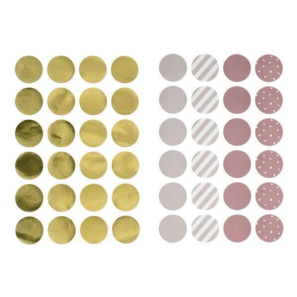 Bloomingville Kulaté samolepky na zeď Rose/Gold - 48 ks, růžová barva, zlatá barva, plast, papír