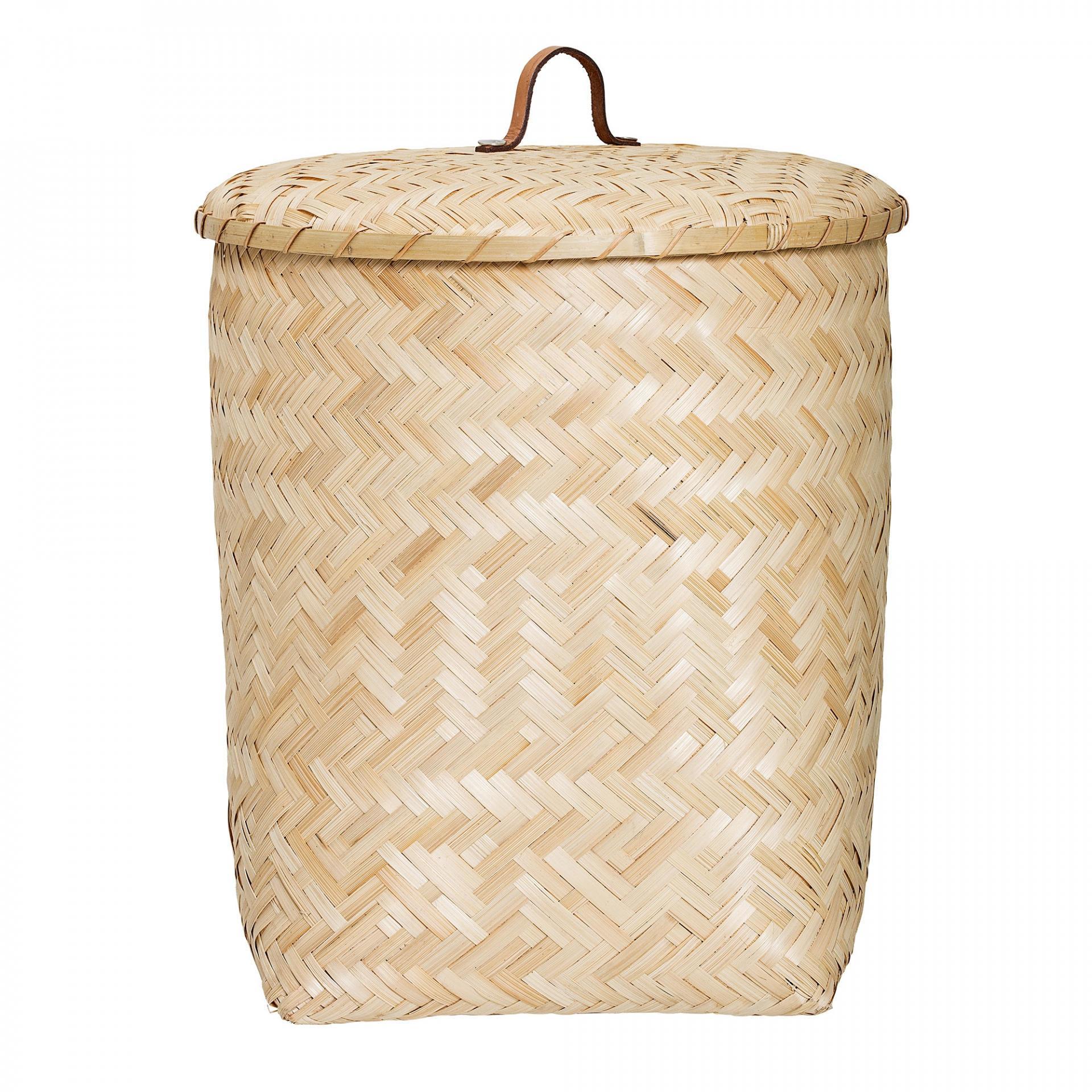 Bloomingville Bambusový koš s víkem Natural, béžová barva, hnědá barva, přírodní barva, dřevo