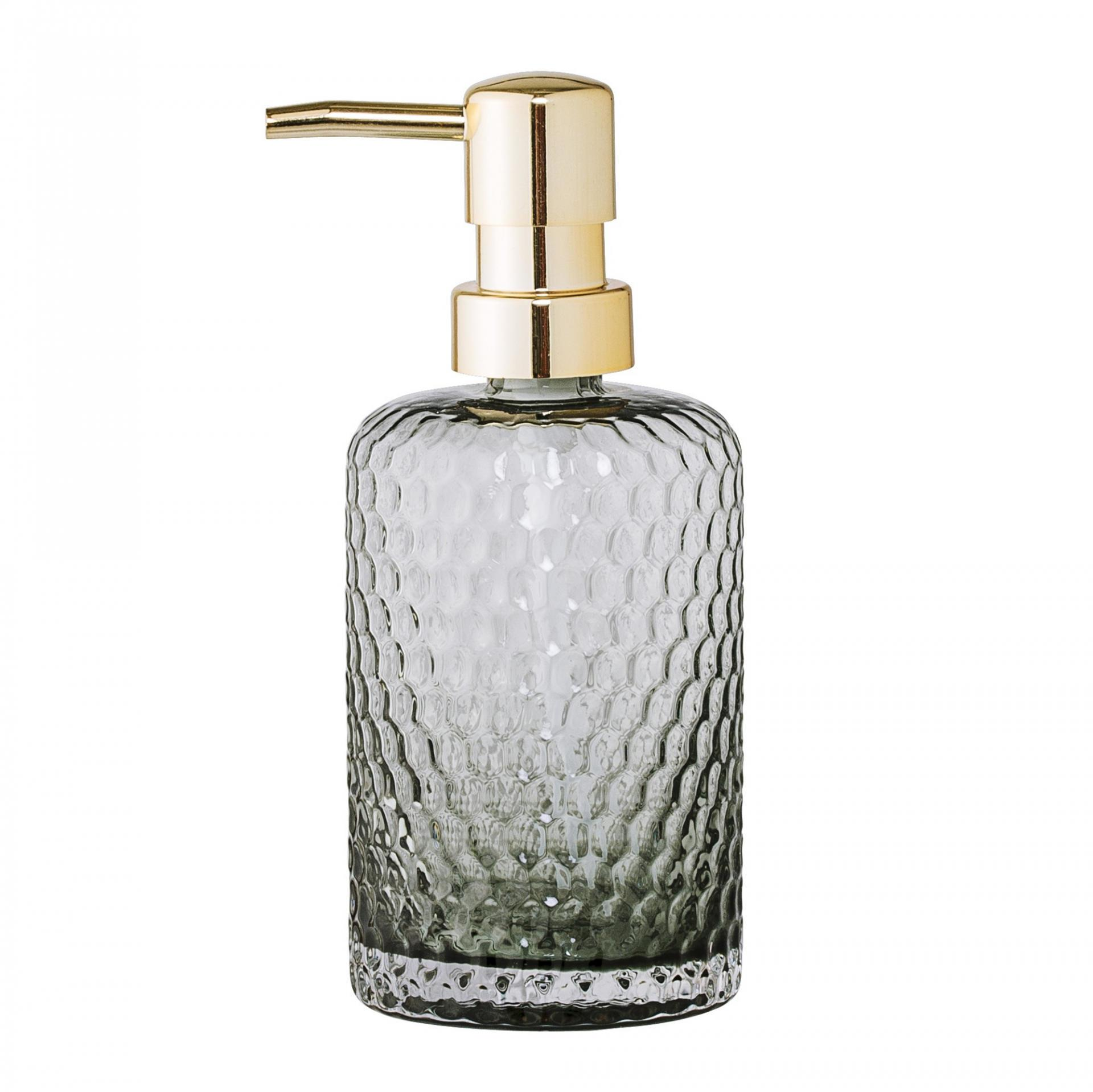 Bloomingville Skleněný zásobník na mýdlo Grey/gold, šedá barva, zlatá barva, sklo