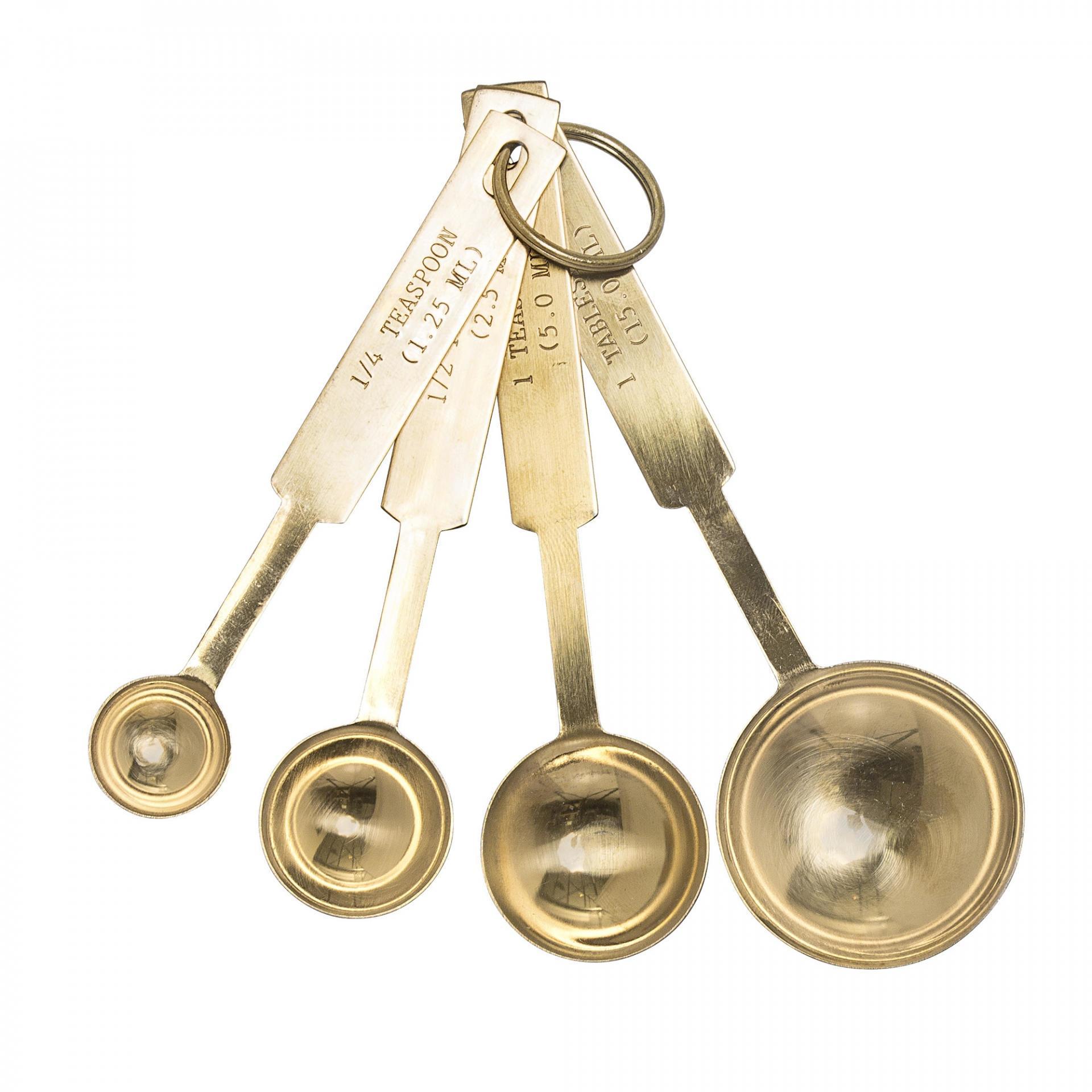 Bloomingville Odměřovací lžičky Gold - set 4 ks, zlatá barva, kov