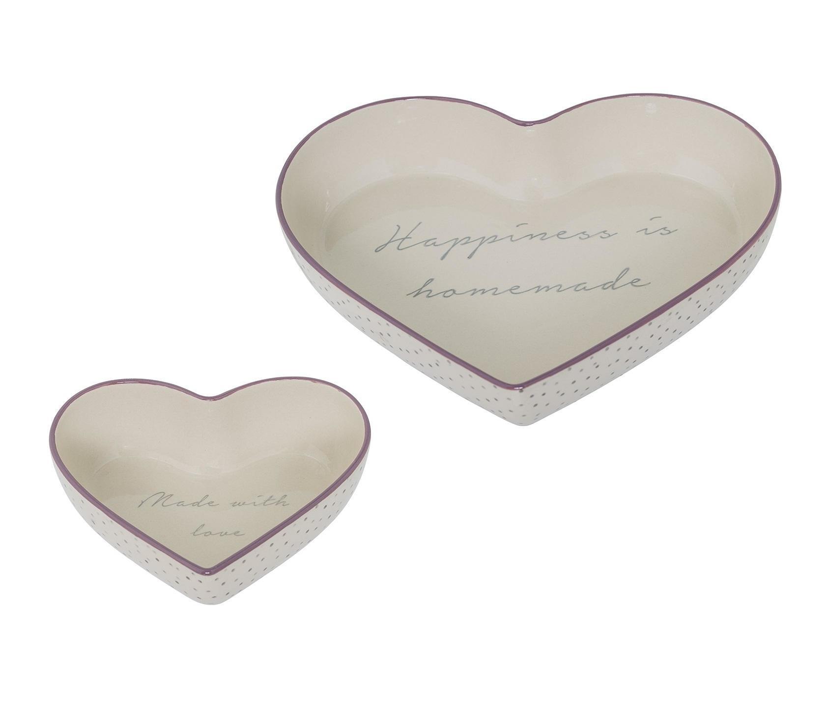 Bloomingville Zapékací mísa ve tvaru srdce Bella Větší (Happiness...), fialová barva, béžová barva, šedá barva, keramika