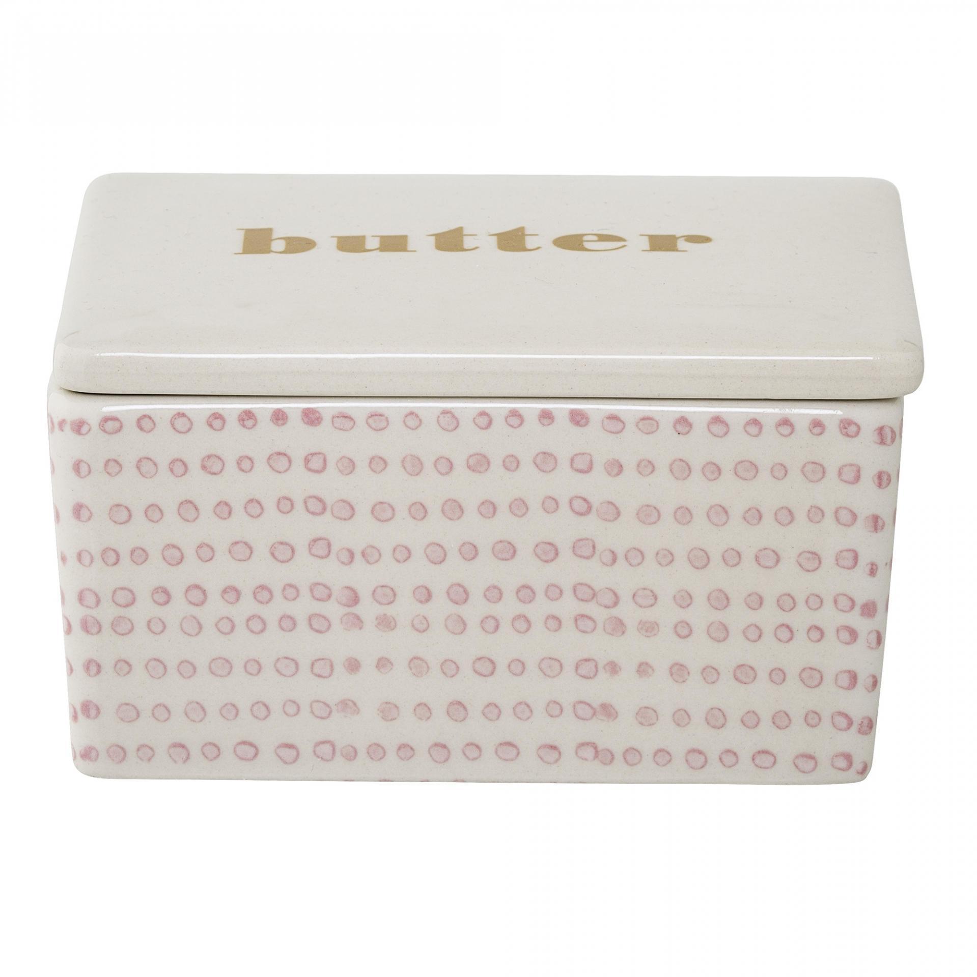 Bloomingville Keramická máslenka Susie, růžová barva, béžová barva, keramika