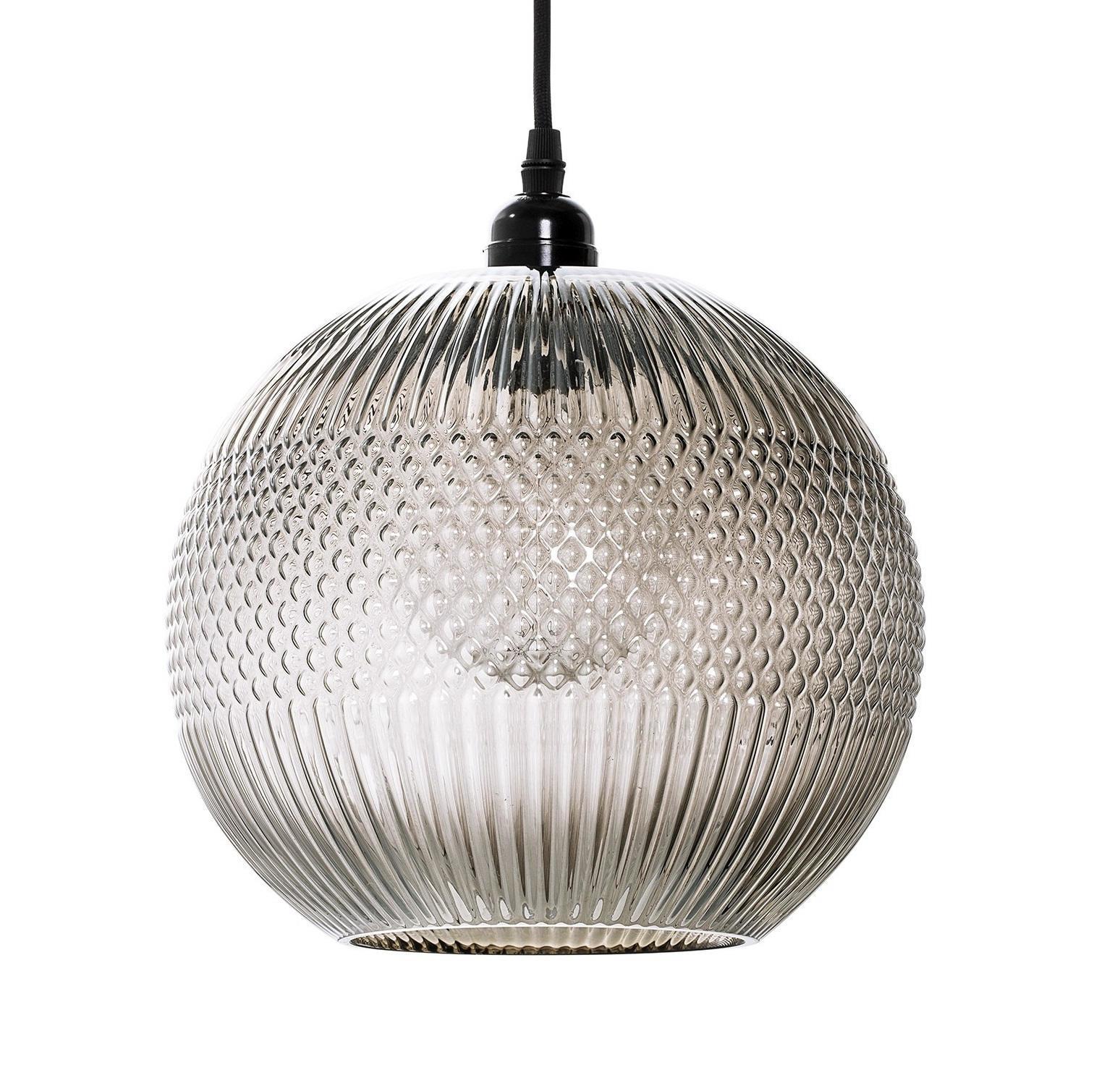 Bloomingville Skleněný lustr Ball Brown, šedá barva, hnědá barva, čirá barva, sklo