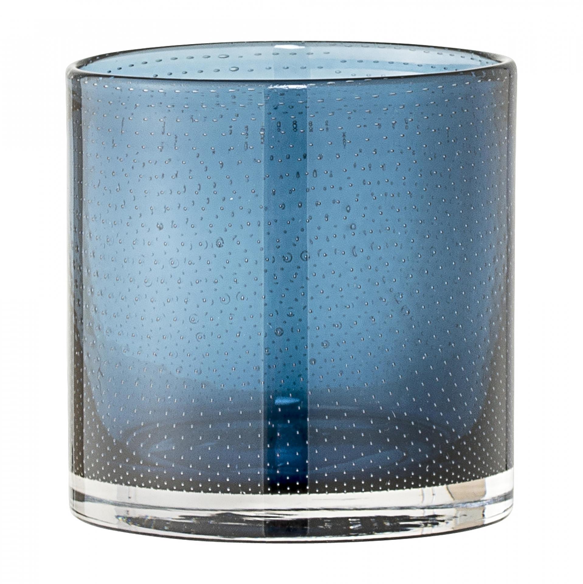Bloomingville Skleněný svícen Dot Blue, modrá barva, sklo