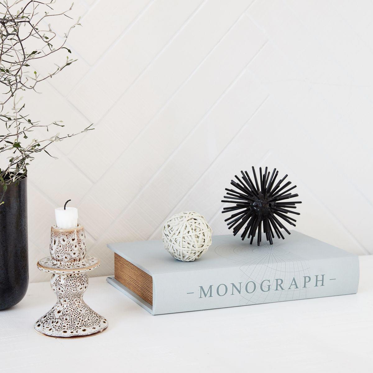 MONOGRAPH Kniha s úložným prostorem Grey, šedá barva, dřevo