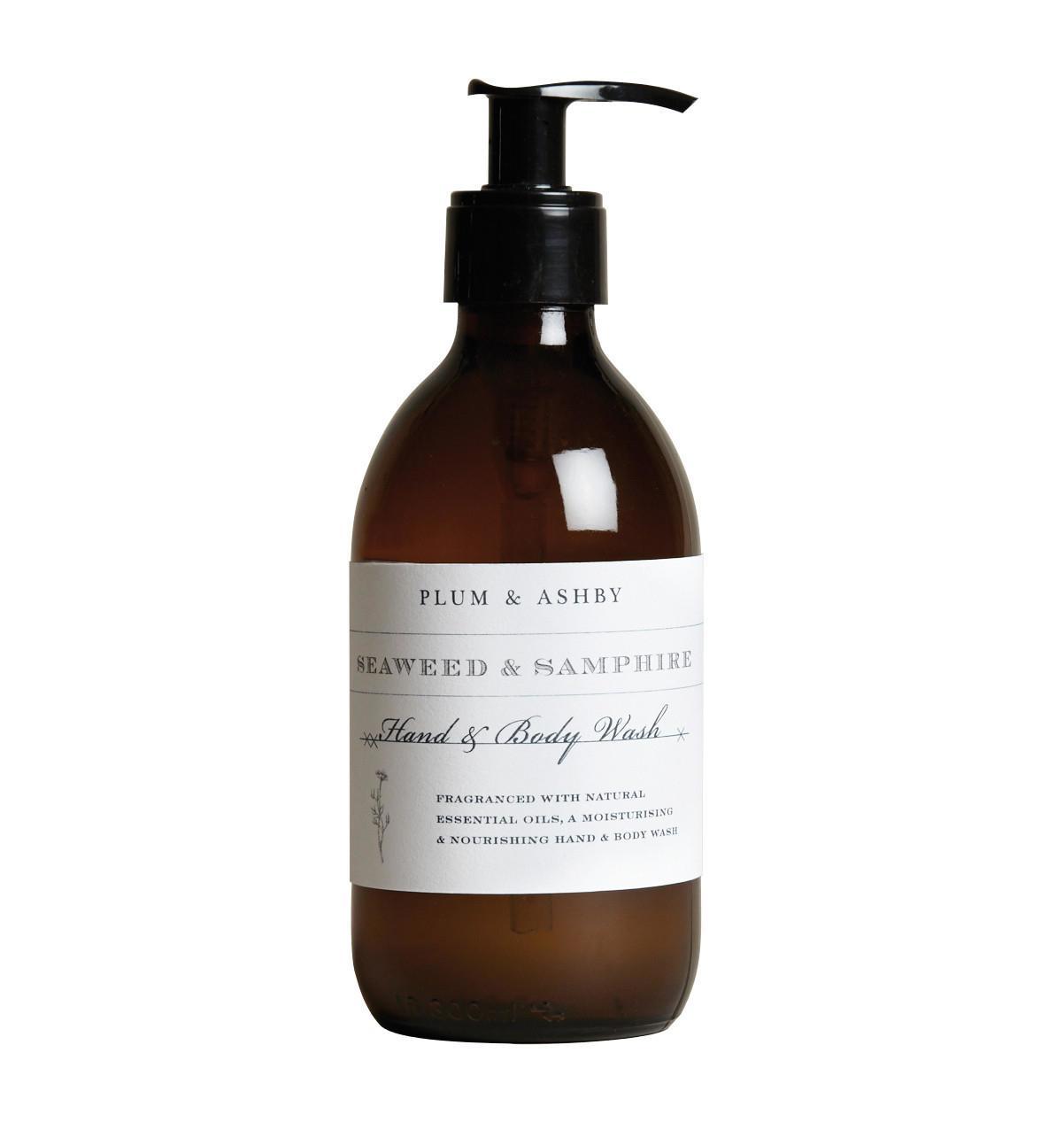 PLUM & ASHBY Mycí gel na tělo a ruce Seaweed & Samphire, hnědá barva, sklo