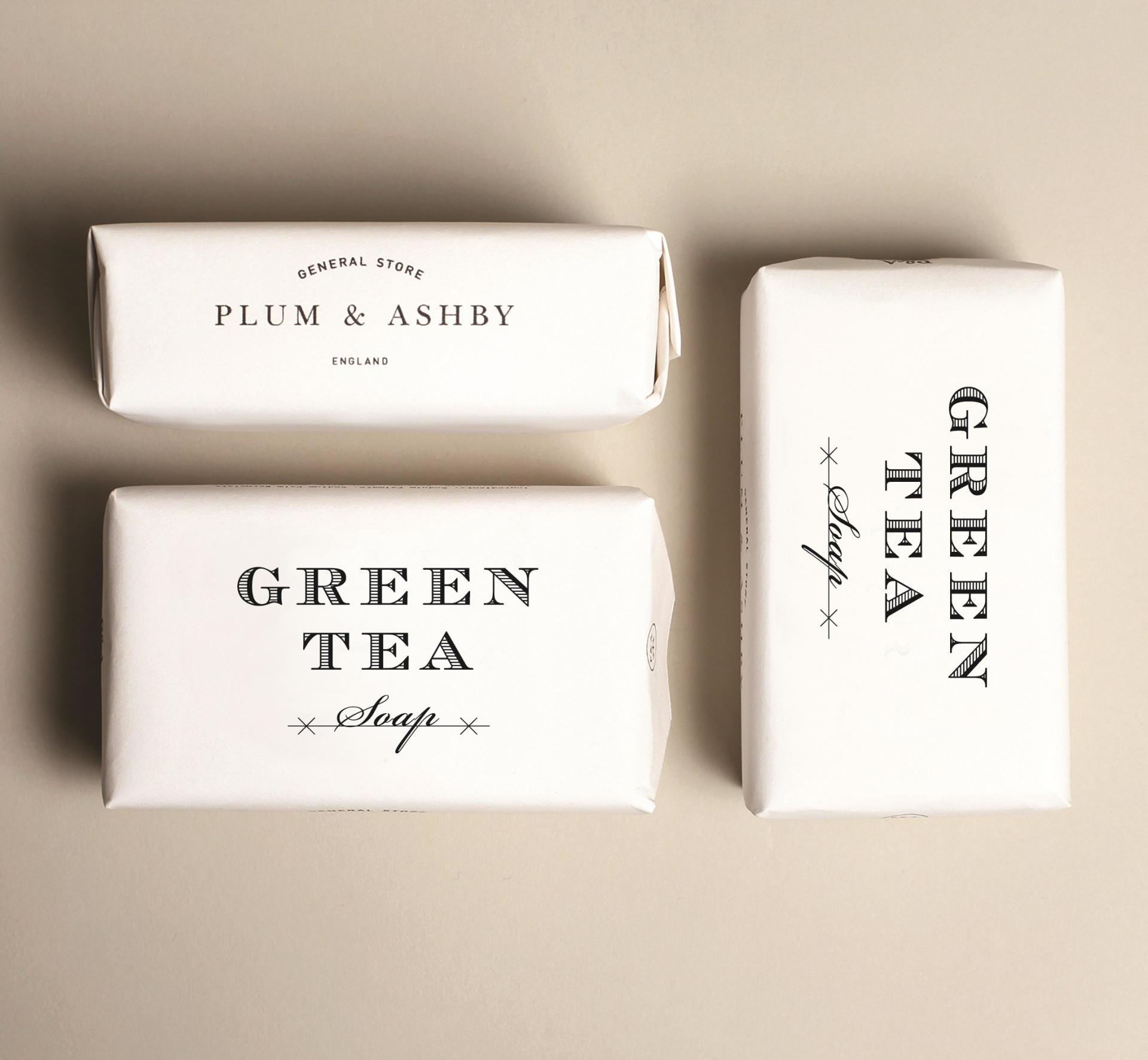 PLUM & ASHBY Mýdlo Green Tea 200gr, bílá barva