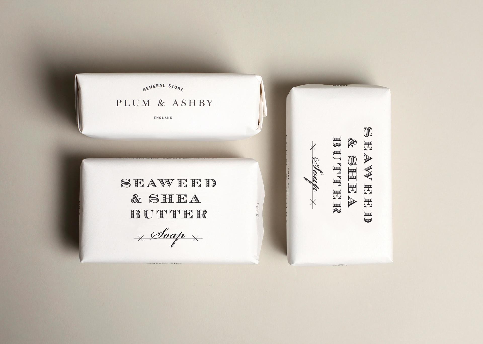 PLUM & ASHBY Mýdlo Seaweed & Shea butter 200gr, bílá barva