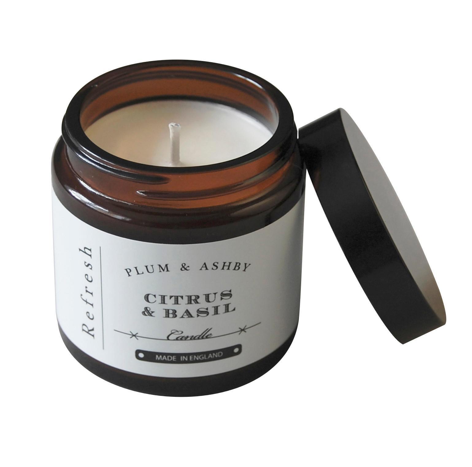 PLUM & ASHBY Cestovní svíčka Citrus & Basil - Refresh, hnědá barva, sklo