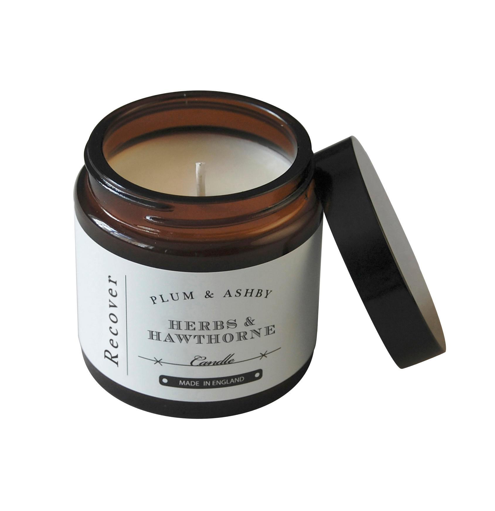 PLUM & ASHBY Cestovní svíčka Herbs & Hawthorne - Recover, hnědá barva, sklo