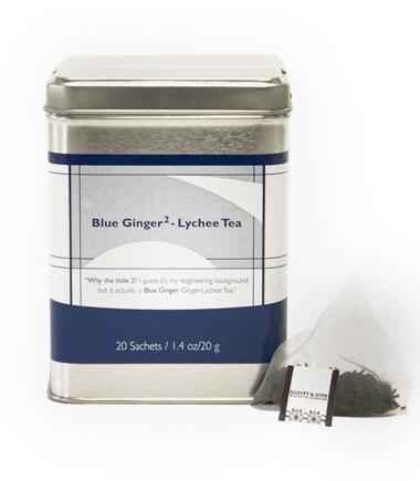 HARNEY & SONS Černý čaj Blue Ginger - Lychee Tea, modrá barva, stříbrná barva, kov