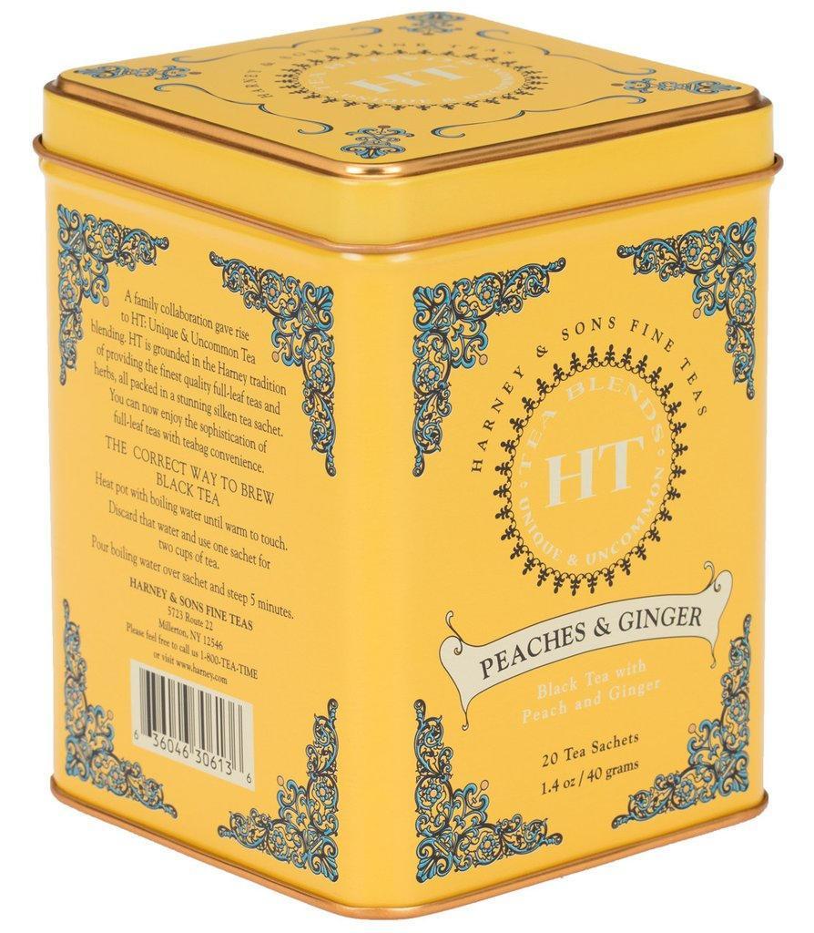 HARNEY & SONS Černý čaj Peaches and ginger, žlutá barva, kov
