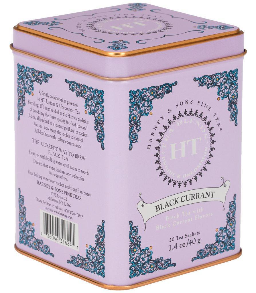 HARNEY & SONS Černý čaj Black Currant, fialová barva, kov