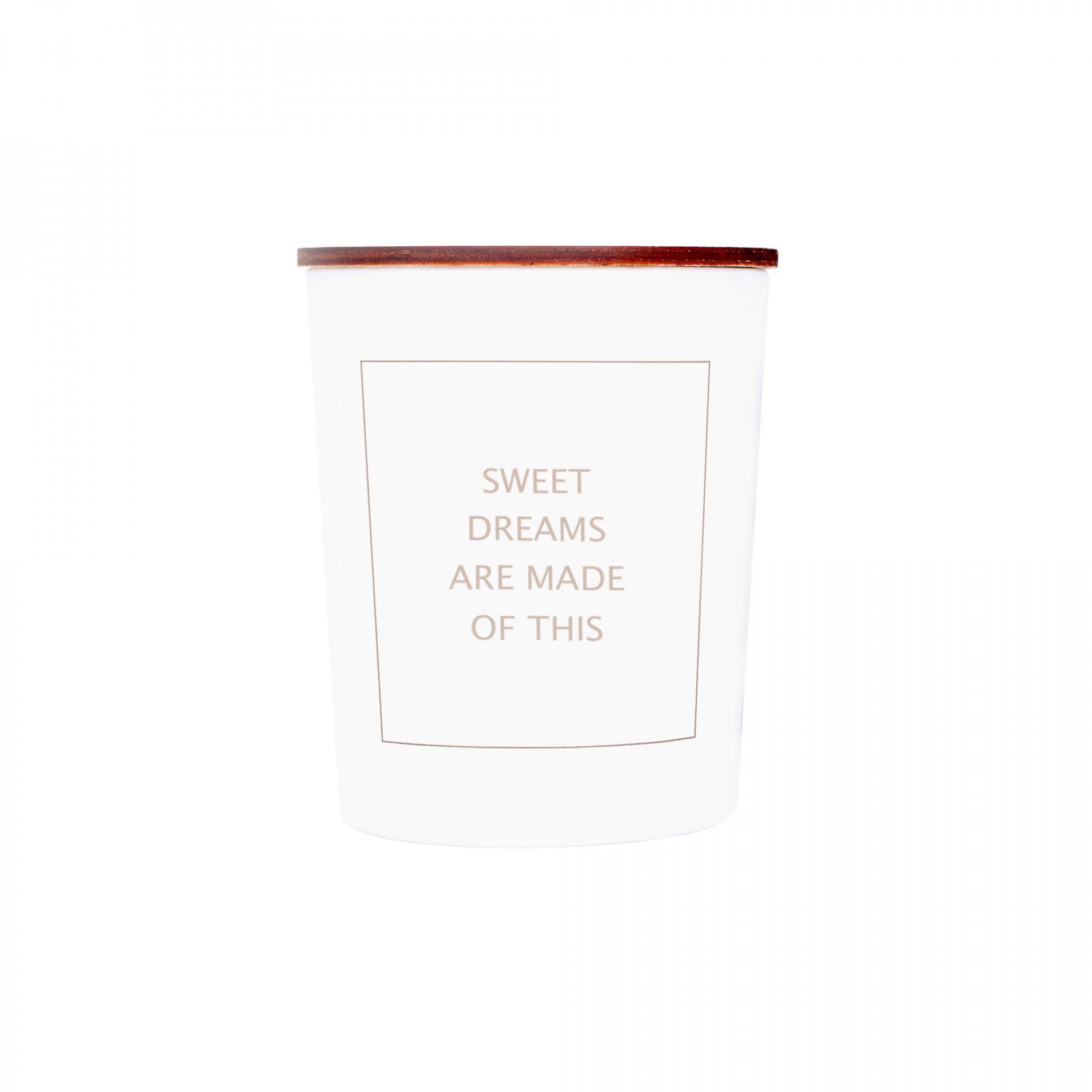 Love Inc. Bílá svíčka Sweet dreams - fíky a růže, bílá barva, sklo, dřevo, vosk