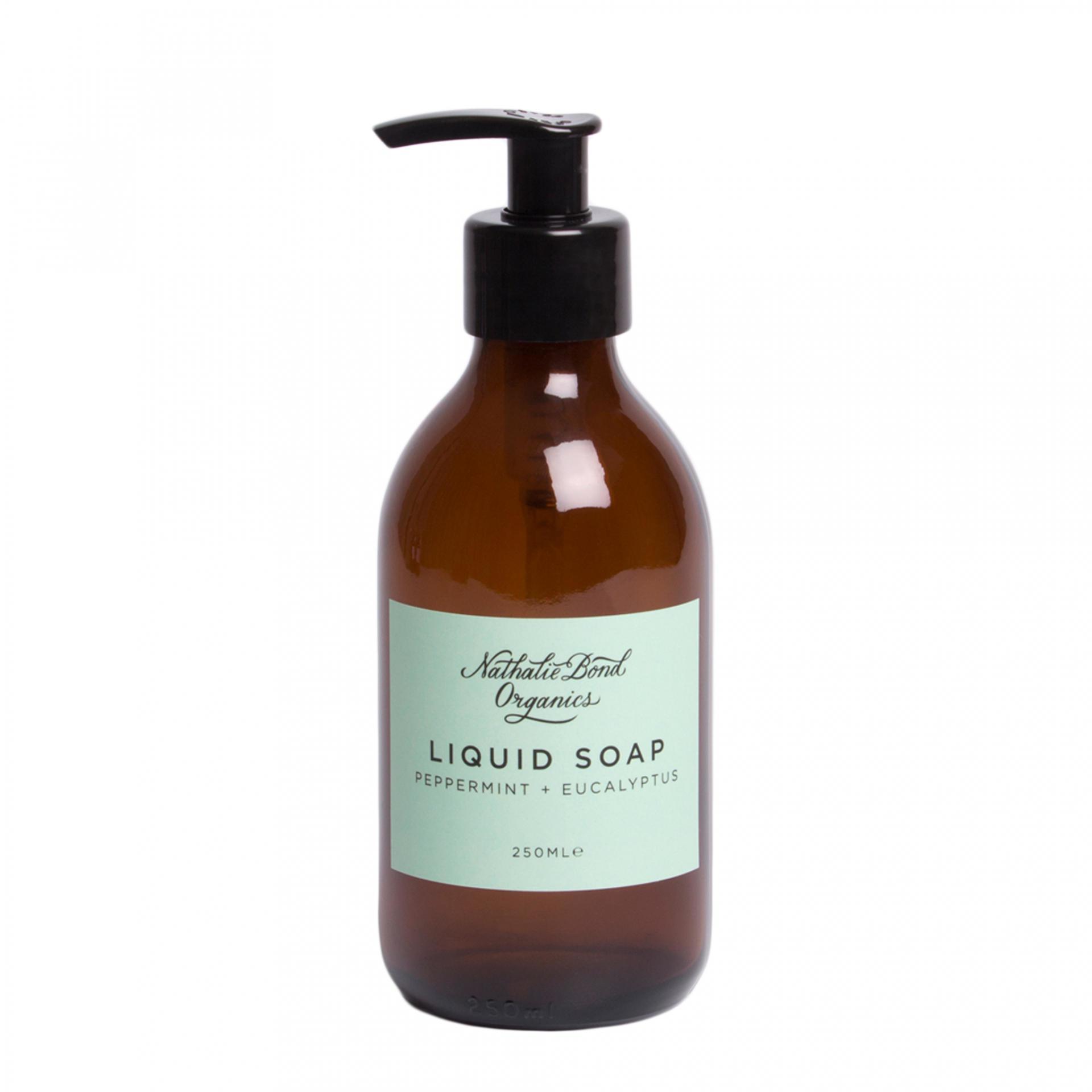 Nathalie Bond Univerzální tekuté mýdlo Peppermint + Eucalyptus 250 ml, zelená barva, hnědá barva, sklo, papír