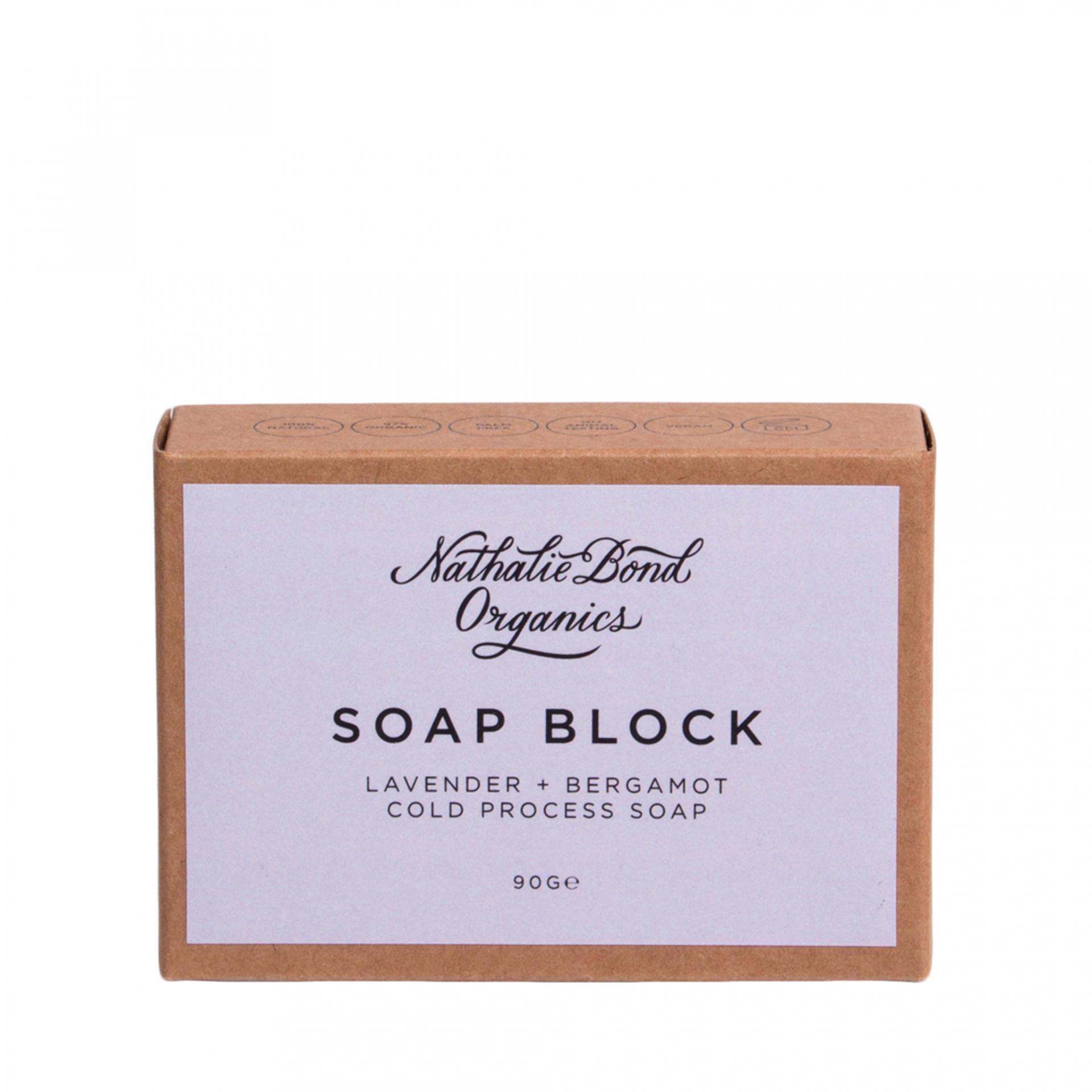 Nathalie Bond Přírodní mýdlo Lavender + Bergamot 90 g, fialová barva, hnědá barva, papír